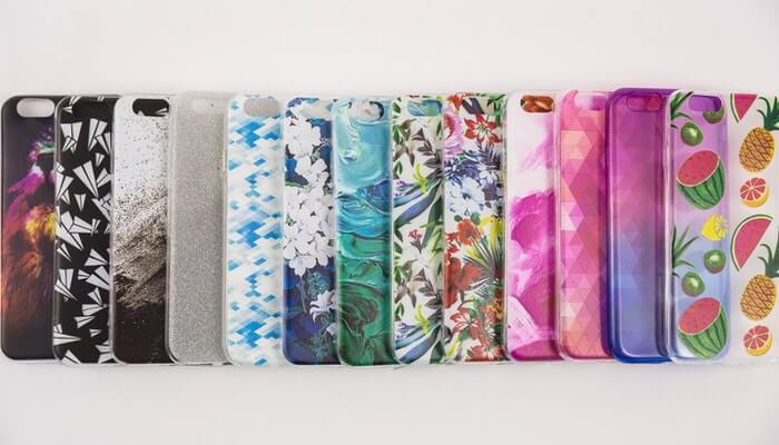 Row of cute and stylish phone cases