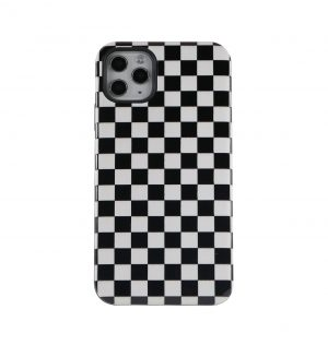 Phone Case with black and white chequered design