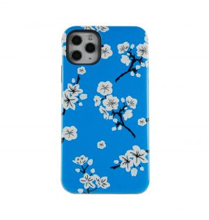 Blue phone case decorated with white blossom