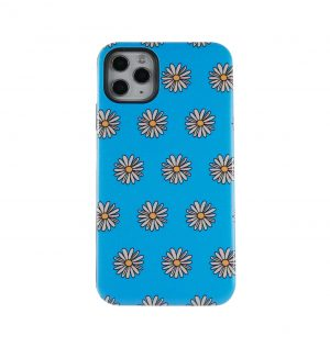 Blue phone case decorated with white and yellow daisies