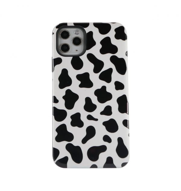 Phone case with black and white cow design