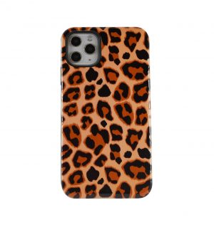Phone case with brown leopard print design