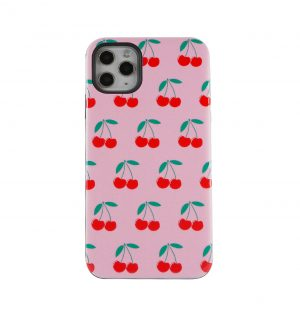 Pink phone case decorated with red cherries