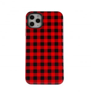 Phone case with red and black plaid design