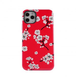 Red phone case decorated with white blossom
