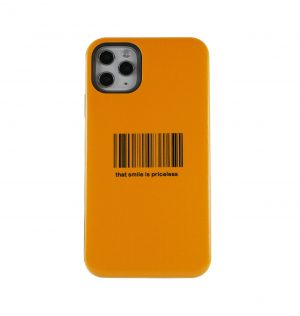Yellow phone case with a barcode printed on the front
