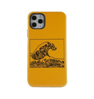 Yellow phone case with a wave printed on the front