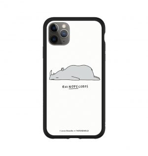 Phone case with the word ´RHINOPECEROS´ written underneath a sleeping rhino (black bumper)
