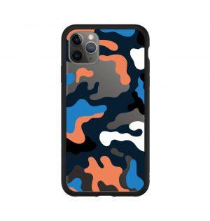 Phone case with colored camo print (black bumper)