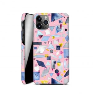 Pink phone case decorated with colorful geometric forms (hard)