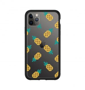 Transparent phone case decorated with yellow pineapples (black bumper)