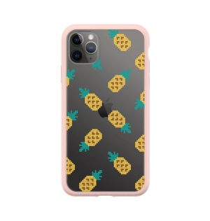 Transparent phone case decorated with yellow pineapples (pink bumper)