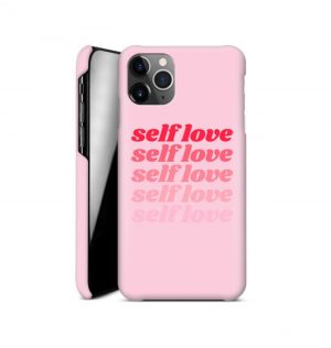 Pink phone case with the words ´self love´ printed multiple times in red (hard)