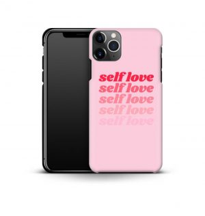 Pink phone case with the words ´self love´ printed multiple times in red (premium)