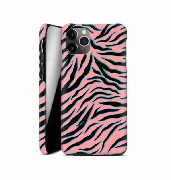 Phone case with pink and black ´zebra´ print (hard)
