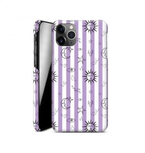 White and purple striped phone case decorated with astronomical images (hard)
