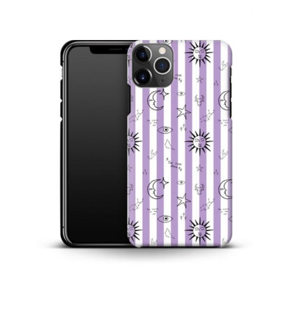 White and purple striped phone case decorated with astronomical images (premium)