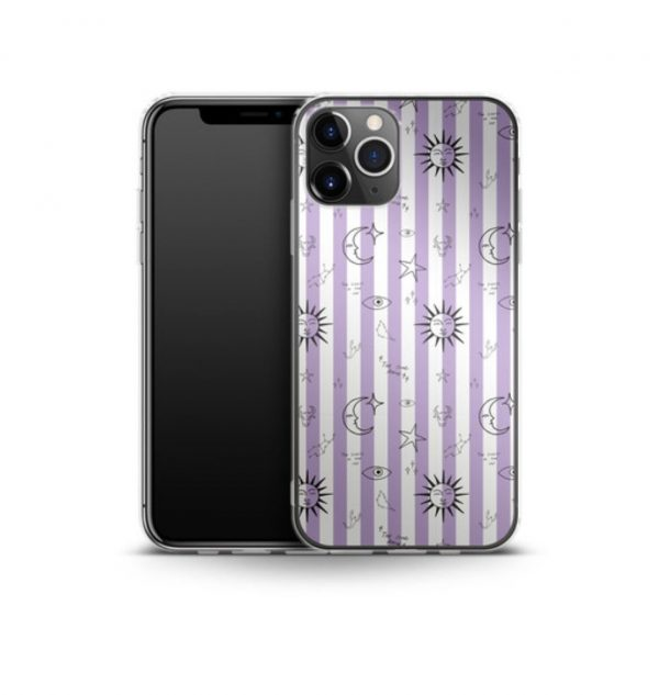 White and purple striped phone case decorated with astronomical images (silicone)