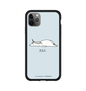 Phone case with the word ´MEH´ written underneath a prostrate unicorn (black bumper)