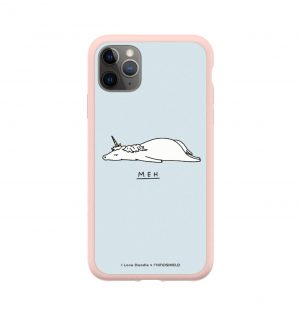 Phone case with the word ´MEH´ written underneath a prostrate unicorn (pink bumper)