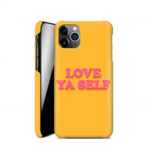 Yellow phone case with the words ´love ya self´ printed on the front in red (hard