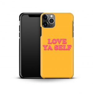 Yellow phone case with the words ´love ya self´ printed on the front in red (premium)