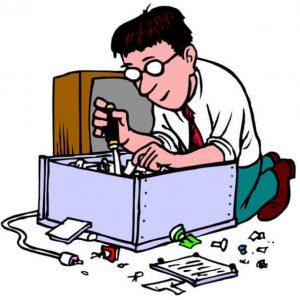 Tech guy fixing a computer (cartoon)